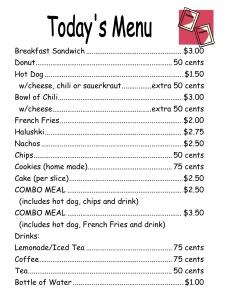 Menu for Flea Market